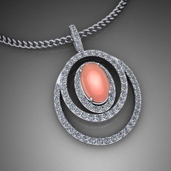 Diamond pendant with pink chalcedony stone