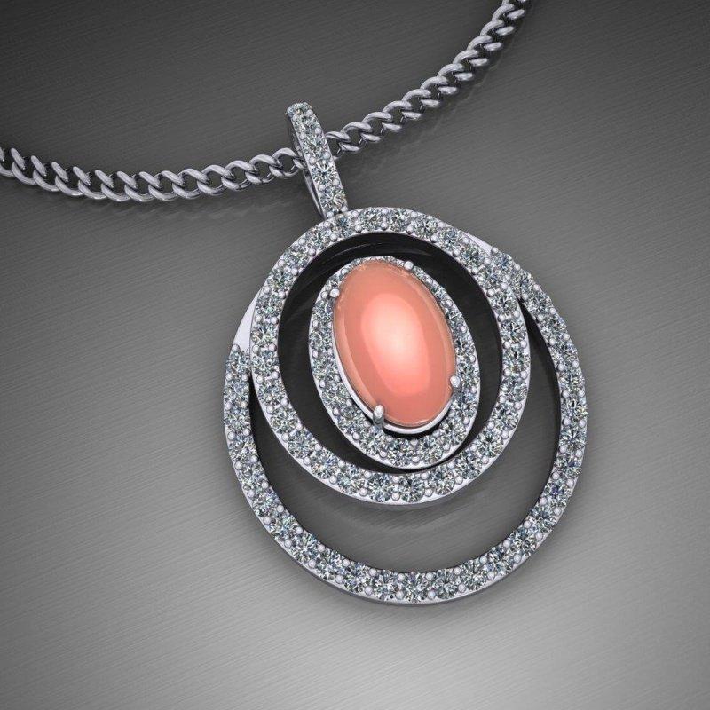 Antony Jewelers Diamond pendant with pink chalcedony stone