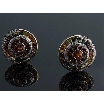 Multicolor sapphire and diamond earrings