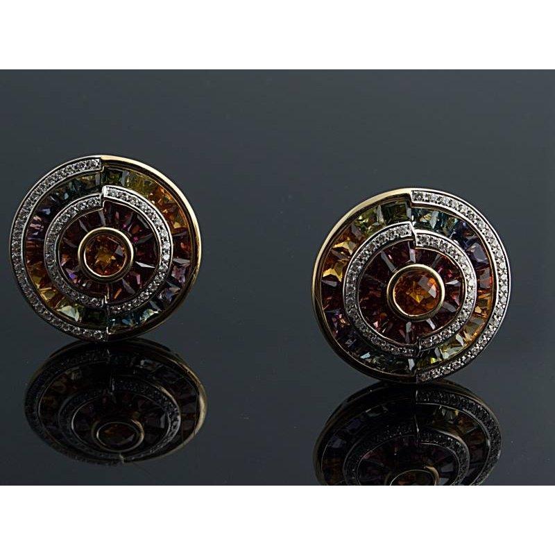 Antony Jewelers Multicolor sapphire and diamond earrings