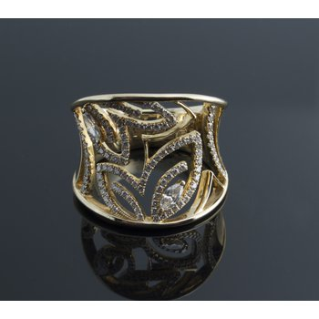 Yellow gold cutout buttefflies diamond ring