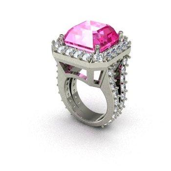 Fashion ring with pink diamond