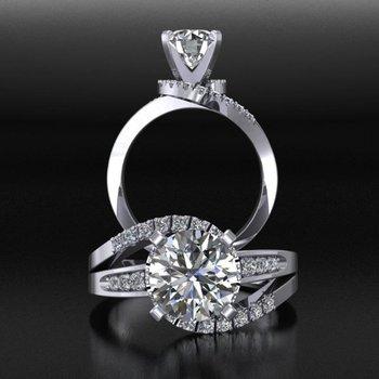 Swirl designed diamond engagement ring