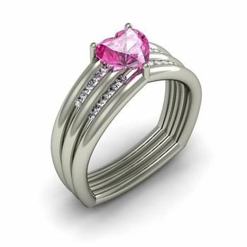 Pink Sapphire & Diamond Heart Ring