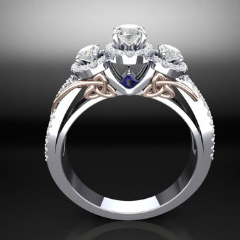 Amazingly detailed engagement ring with diamonds and sapphires