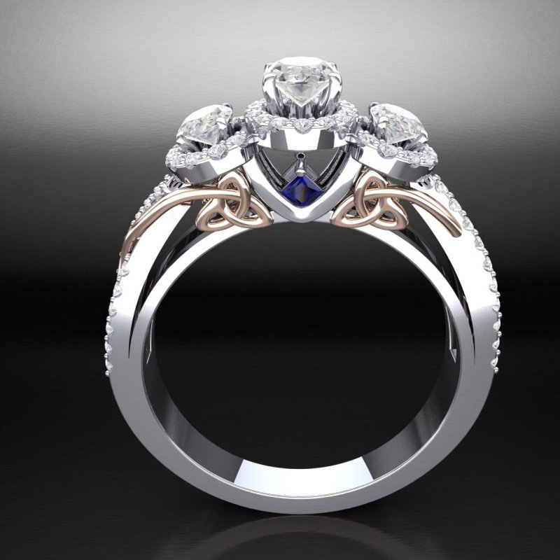 Antony Jewelers Amazingly detailed engagement ring with diamonds and sapphires