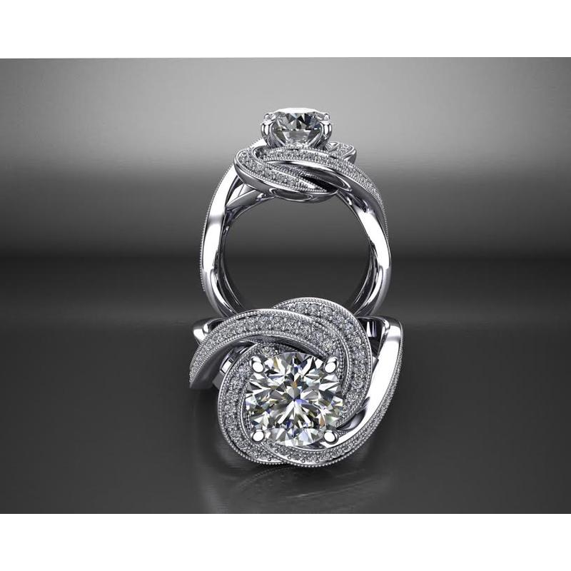 Antony Jewelers Swirl Diamond Engagement Ring