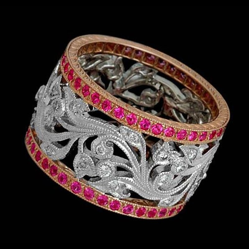 Antony Jewelers Band with rubies set in filigree style