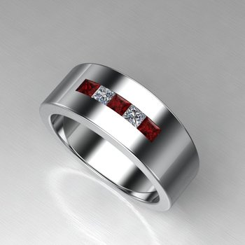 Wedding band with rubies and stones