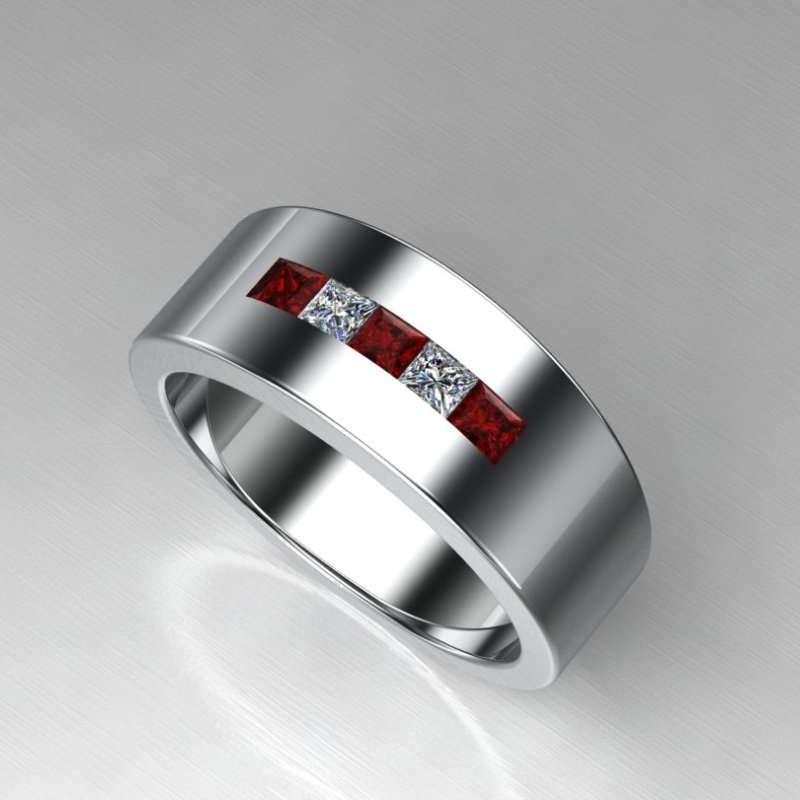 Antony Jewelers Wedding band with rubies and stones