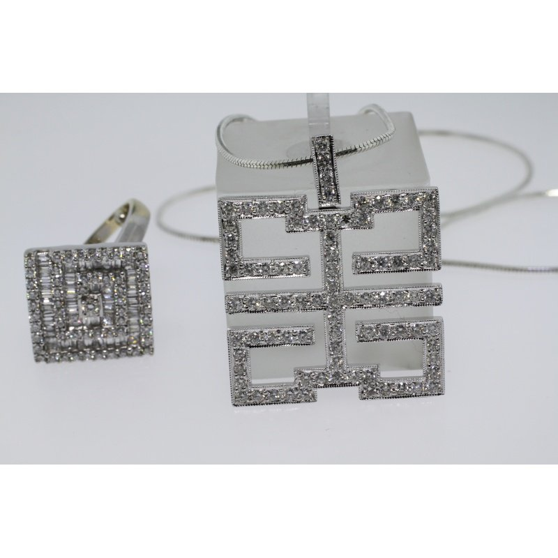 Antony Jewelers Contemporary set: pendant and ring with diamonds
