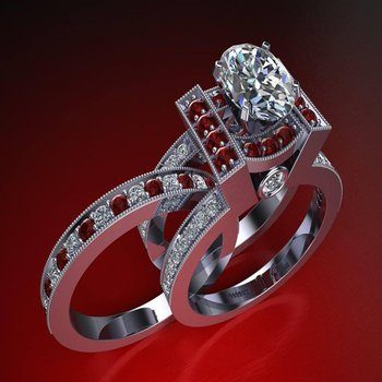 Unique diamond and rubies mixed engagement ring with matching band