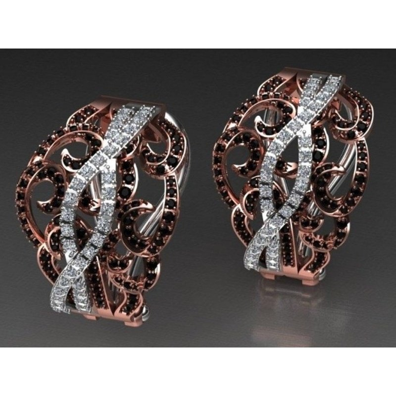 Antony Jewelers Black and white diamonds earrings