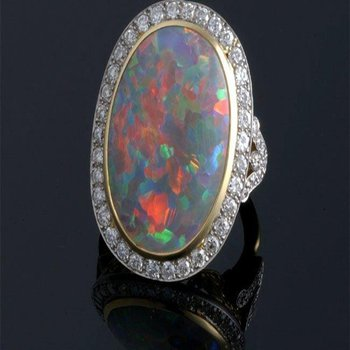 Colorful opal fashion ring