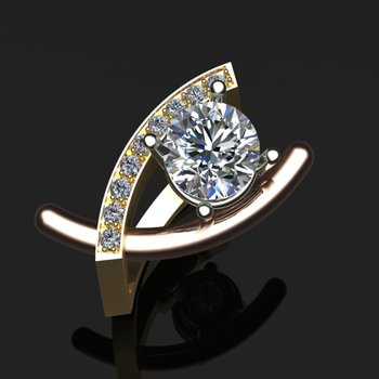 Elegant swirl diamond engagement ring
