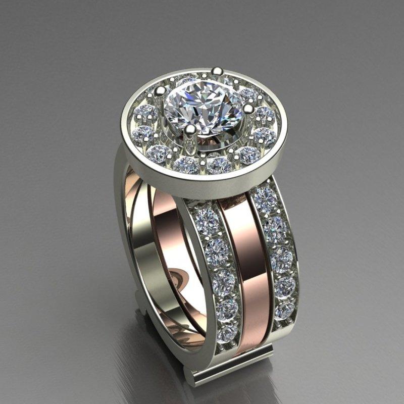 Antony Jewelers Rose and white gold diamond engagement ring