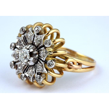 Diamond sunflower fashion ring