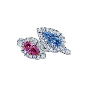 Diamond cocKtail ring with pink and blue sapphires