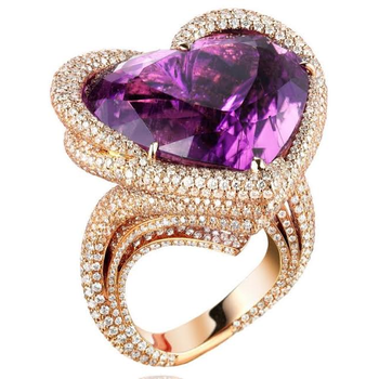 Golden Heart Amethyst Ring