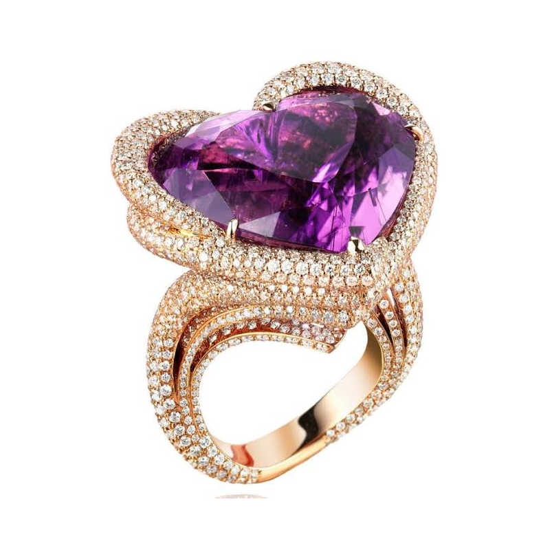 Antony Jewelers Golden Heart Amethyst Ring