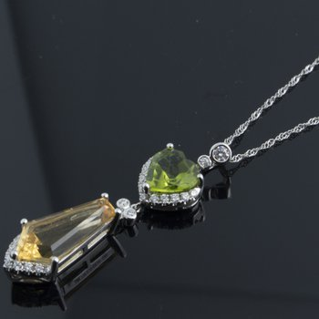 Amazingly constructed necklace with yellow citrine and green tourmaline stones