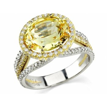 Sparkling yellow diamond engagement ring