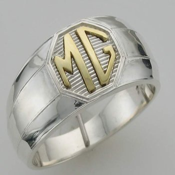 """Two-tone  gold initial """"MG"""" men's ring"""