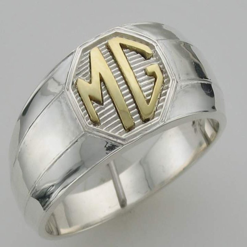 """Antony Jewelers Two-tone  gold initial """"MG"""" men's ring"""