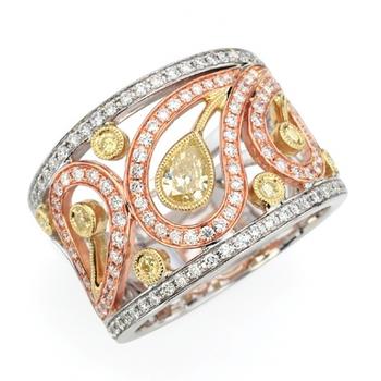 Unique tri color diamond band