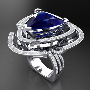 Fashion ring with diamonds and sapphire