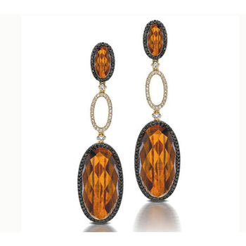 Dramatic earrings with yellow citrines