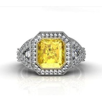Fancy yellow diamond classical engagement ring