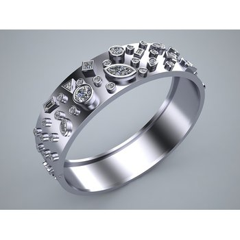 White Gold Bangle Bracelet with excellent Diamonds Qualiy on a top