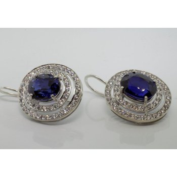 Double Halo earrings with diamonds and sapphires