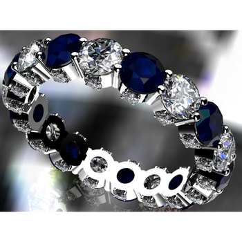 Timeless sapphires and diamonds eternity band