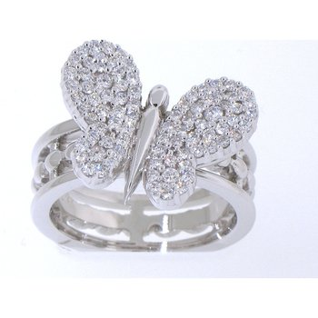 Diamond butterfly fashion ring