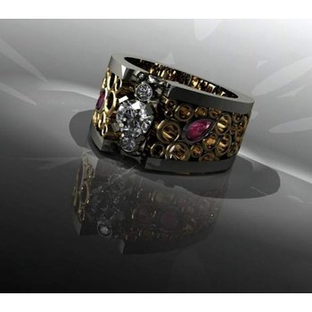 Filigree style fashion ring with ruby and diamonds