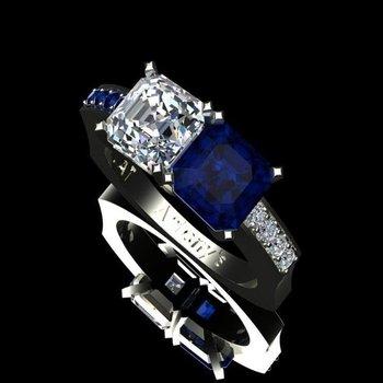 Sapphire and diamond geometrical ring