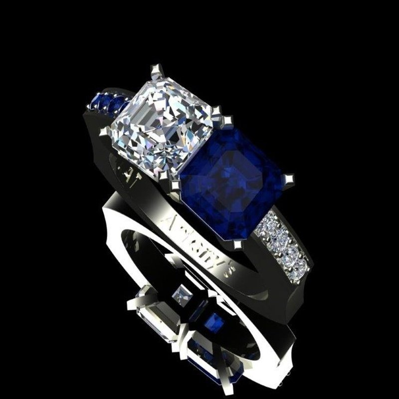 Antony Jewelers Sapphire and diamond geometrical ring