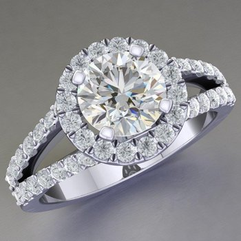 Classical engagement ring with round diamonds