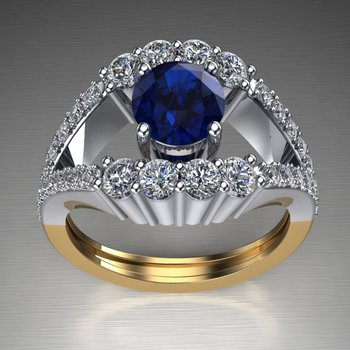 Two tone sapphire engagement ring