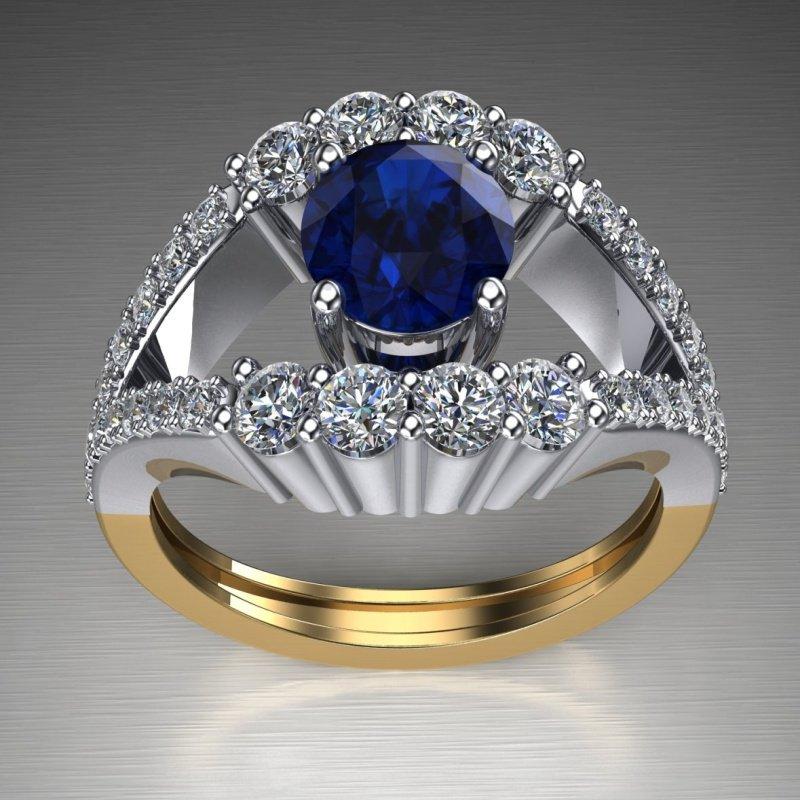 Antony Jewelers Two tone sapphire engagement ring