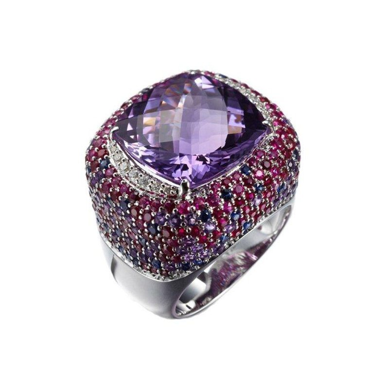 Antony Jewelers Amethyst and rubies fashion ring