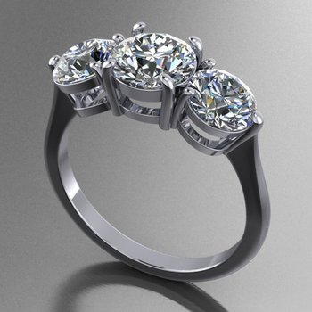 3 stone engagement ring with matching band