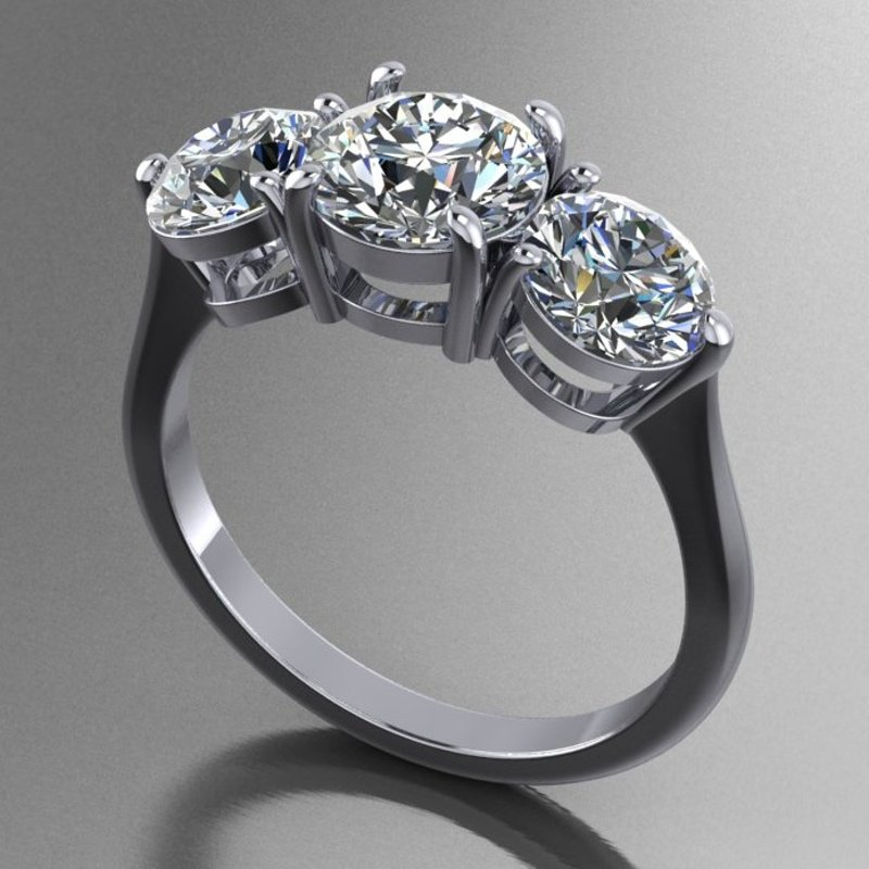 Antony Jewelers 3 stone engagement ring with matching band