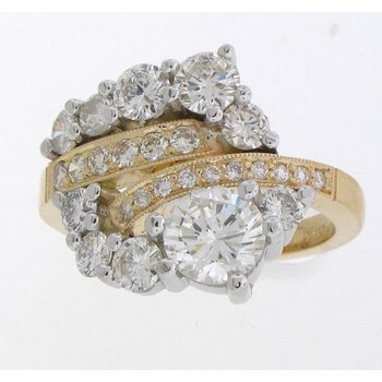 Unique two tone diamond engagement ring