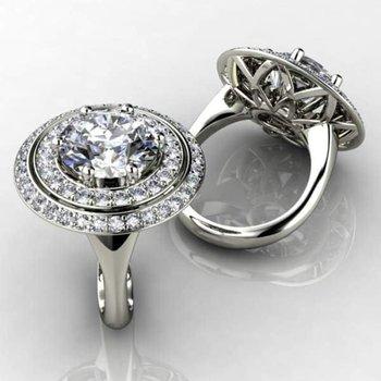Double halo fine quality diamond engagement ring