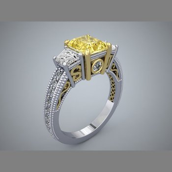 Filligree style engagement ring with princess cut yellow diamond centered
