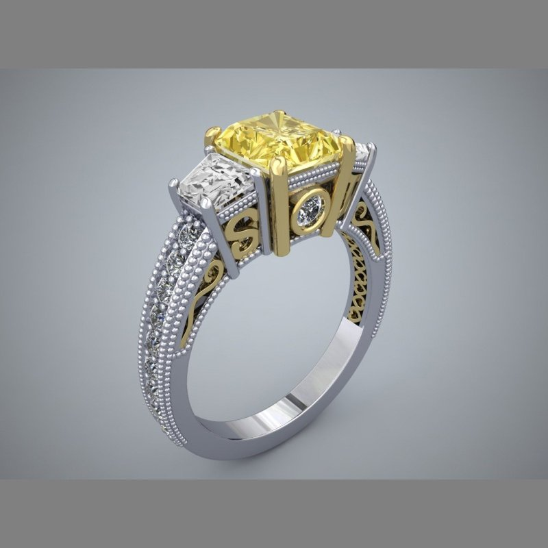 Antony Jewelers Filligree style engagement ring with princess cut yellow diamond centered