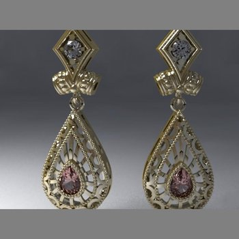 Antique style gold earrings with white and brown diamonds
